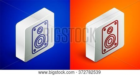 Isometric Line Stereo Speaker Icon Isolated On Blue And Orange Background. Sound System Speakers. Mu