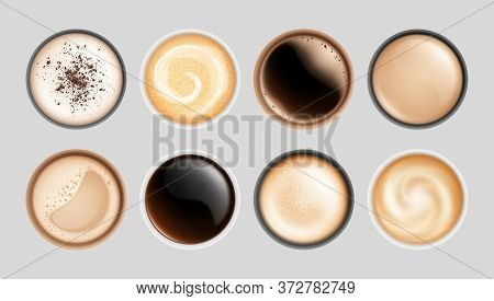 Realistic Coffee Cup. Top View Hot Latte Cappuccino Espresso, Isolated Breakfast Beverages. Milk Fro