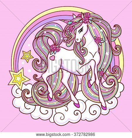 Beautiful Unicorn With A Long Mane And A Rainbow. Childrens Design. Vector Illustration