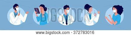 Doctors Nurses Avatars. Medical Staff, Healthcare Hospital Team In Protective Masks. Therapist, Surg