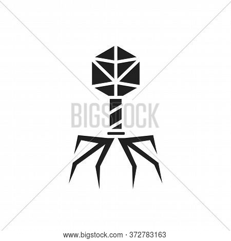 Bacteria Bacteriophage Black Glyph Icon. Bacterial Infection Sign. Microscopic Germ Cause Diseases C