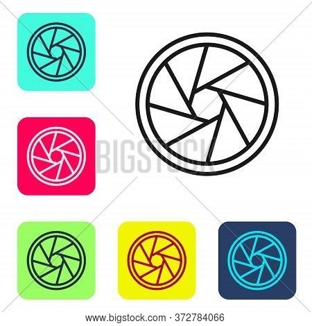 Black Line Camera Shutter Icon Isolated On White Background. Set Icons In Color Square Buttons. Vect