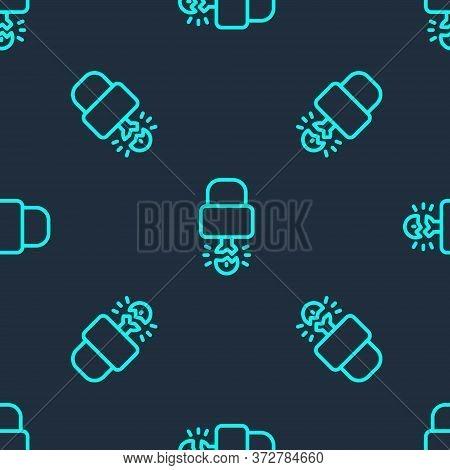 Green Line Key Broke Inside Of Padlock Icon Isolated Seamless Pattern On Blue Background. Padlock Si