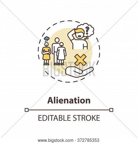 Alienation Concept Icon. Problem With Individual Integration In Society. Human Interaction. Social I