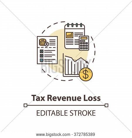 Tax Revenue Loss Concept Icon. Business Profit Reduction. Crisis In Industry. Financial Decline Idea