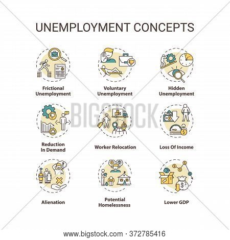 Unemployment Type Concept Icons Set. Potential Homelessness. Lower Gross Domestic Production. Econom