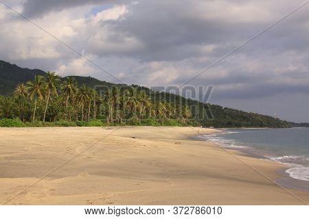 Empty Beach At Pantai Setagi, Near Senggigi, Lombok, Indonesia. Exotic Tropical Destination Beach On