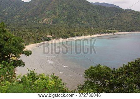 Pantai Malimbu Beach Seen From Malimbu Cliff, Lombok, Indonesia. Exotic Tropical Destination Beach O