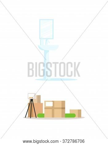 Sink And Packed Things Semi Flat Rgb Color Vector Illustrations Set. Bathroom Attribute And Cardboar