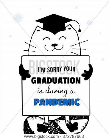 Funny Quarantine Graduation Card, Whimsical Quirky Drawing