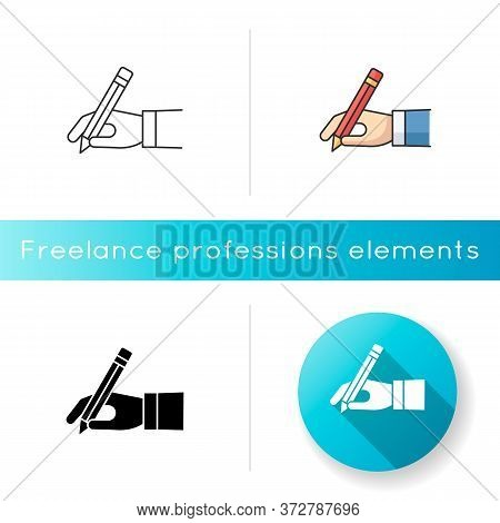 Copy Writer Icon. Hand Hold Pencil. Write Signature. Hobby And Craft. Tool For Drawing. Handwriting