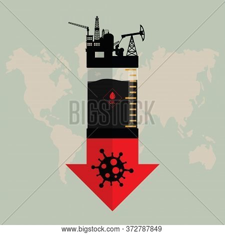 Oil Crisis Because Outbreak Of (pandemic) Coronavirus Concept. Design With Rig, Winch, Oil Pump And