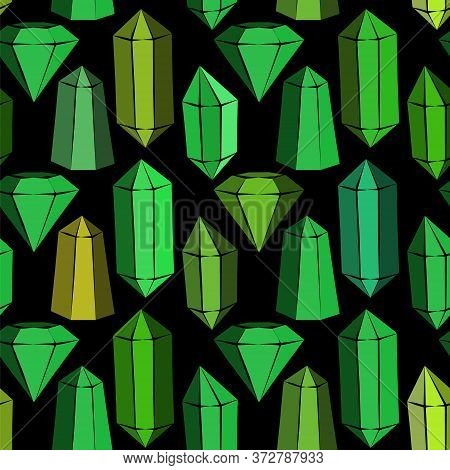 Seamless Vector Pattern With Green Crystals And Emeralds. Hand-drawn Gemstones, Diamonds, Diamonds,