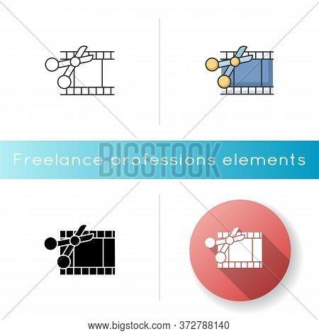 Film Edit Icon. Movie Montage. Cut Film Strip With Scissors. Camera Negative Slides. Multimedia And