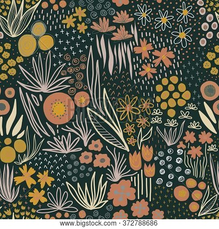 Autumn Flower Field Fall Colors Seamless Pattern. Repeating Liberty Doodle Flower Meadow On A Dark B