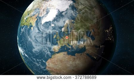 Location Of Berlin, Germany On Globe. 3d Illustration