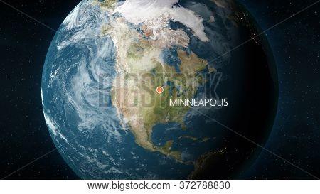 Location Of Minneapolis, Minnesota, Usa On Globe. 3d Illustration