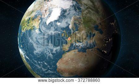 Location Of Paris, France On Globe. 3d Illustration