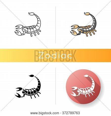 Scorpio Zodiac Sign Icon. Astrological Scorpion. Linear Black And Rgb Color Styles. Dangerous Predat