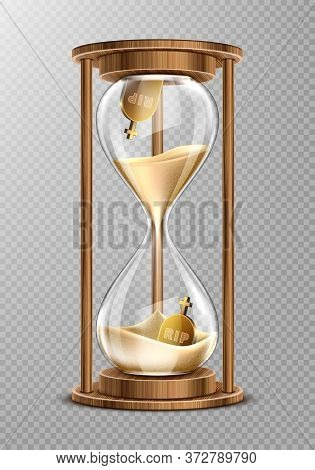 Sand Hourglass In Wooden Frame With Gravestones Inside. Concept Of Short Life. Vector Realistic Sand