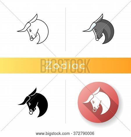 Taurus Zodiac Sign Icon. Astrological Bull. Linear Black And Rgb Color Styles. Horned Farm Animal, R