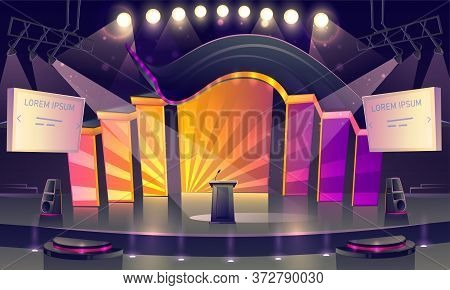 Conference Hall, Stage For Presentation, Empty Scene Interior With Tribune, Microphone, Glowing Spot