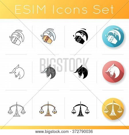 Birth Signs Icons Set. Linear, Black And Rgb Color Styles. Bull, Water Bearer And Scales Zodiac Symb