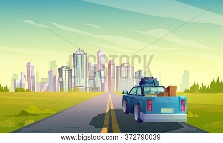 Relocation To Another City, Wagon Truck With Freight In Open Trunk Rear View Moving By Two-lane Road
