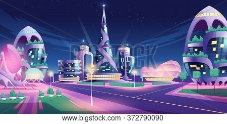 Future City, Night Town With Skyscrapers And Futuristic Buildings With Neon Lights. Vector Cartoon I