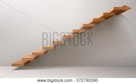 Empty Room With Brown Staircase And Arrow Sign Instead Of Top Step. Vector Realistic Mockup Of Stair