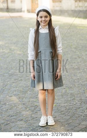 Get Ready For New Academic Year. Happy Child Wear School Uniform. Schoolgirl Uniform. School Uniform