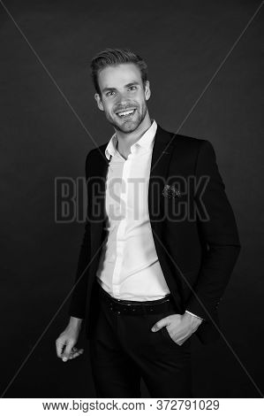 Office Style Fashion. Happy Businessman Dark Background. Fashion Look Of Project Manager. Handsome M