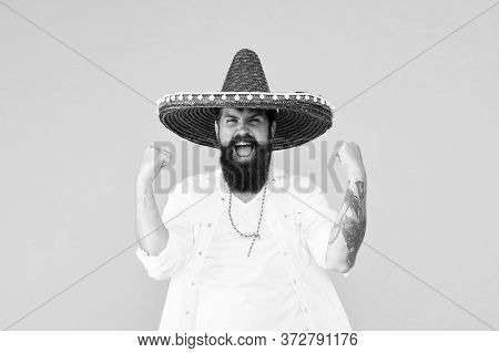 Festival Concept. Hipster Having Fun. Mexican Performer. Mexican Traditions. Explore Mexican Culture