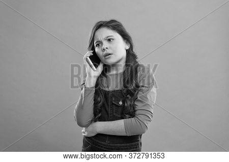 Kid Speak On Phone. Conversation. Little Girl Having Phone Talk. Modern Life Communication. Kid Shop