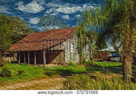 Old Charming Shack Made Of Wood In A Traditional Rural Style With Lush Vegetation, Near Bento Gonçal