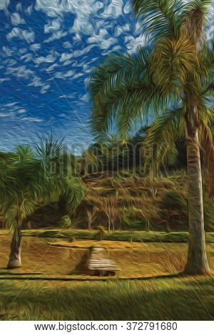 Wooden Walkway Going To A Small Island In Pond From A Pretty Garden With Palm Trees Near Bento Gonça