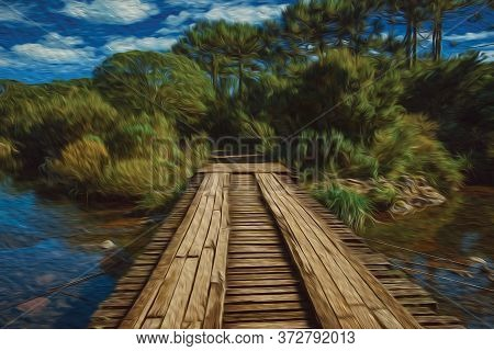 Wooden Bridge Over Creek In A Forest At The Aparados Da Serra National Park Near Cambara Do Sul. A S