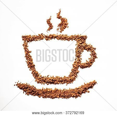 Instant Coffee, Coffee Cup On A White Background From Instant Coffee Granules, Drawing. Morning Brea