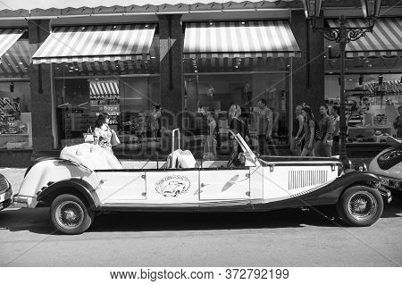 Prague, Czech Republic - June 03, 2017: Vintage Car Cabrio Replica Parked At Street. Sightseeing Tou