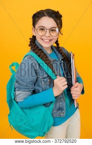 Enrich Your Knowledge. Happy Child Back To School. Knowledge Day. September 1. Little Girl Hold Bag