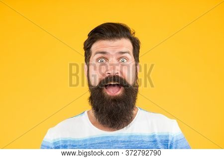 What A Surprise. Bright Life Living. Brutal Bearded Man On Yellow Background. Male Summer Fashion. M