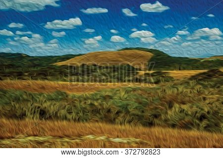 Landscape Of Rural Lowlands Called Pampas With Trees And Bushes On The Hills Near Cambara Do Sul. A