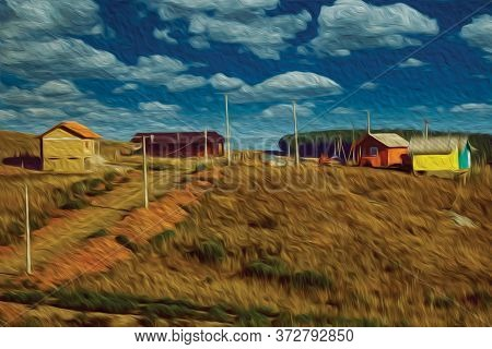 Houses On Top Of Hill With Road And Light Posts On Rural Lowlands Called Pampas Near Cambara Do Sul.