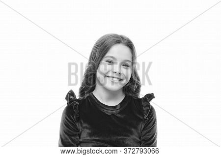 Smile On. Happy Kid Isolated On White. Little Girl With Adorable Smile. Small Child With White Healt