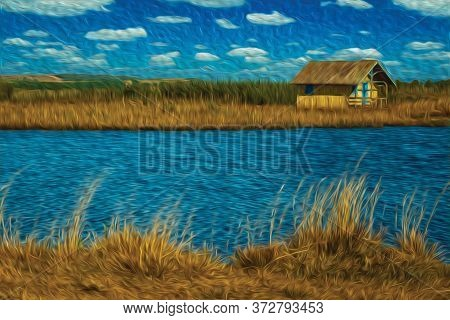 Wooden Chalet Facing A Blue Water Lake In A Landscape With Trees And Dry Bushes Near Cambara Do Sul.