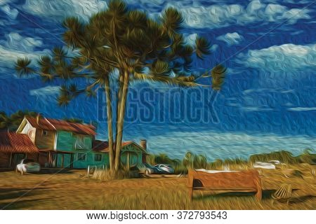 Wooden House Facade From Charming Farmstead With Pine Trees And Rustic Bench Near Cambara Do Sul. A