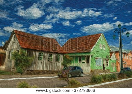 Wooden Old Houses And Store In The Calm Getulio Vargas Avenue, The Main Street Of Cambara Do Sul. A