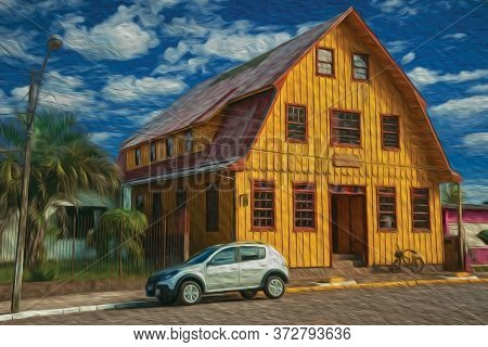 Facade Of Wooden Old House And Parked Car In A Stone Street At Cambara Do Sul. A Small Rural Town In