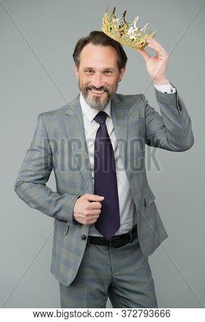 High On Confidence. Big Boss Grey Background. Happy Man Wear Luxury Crown. Bearded Man In Formalwear