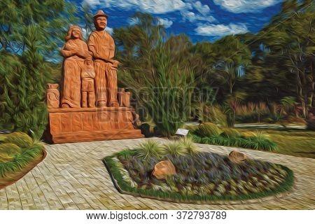 Nova Petropolis, Brazil - July 20, 2019. Sculpture Of Immigrant Family At Sculpture Park Stones Of S